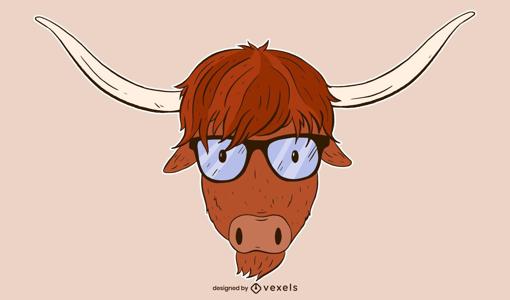 highland cow illustration design