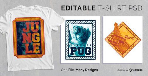 Design PSD de t-shirt com moldura colorida e texto