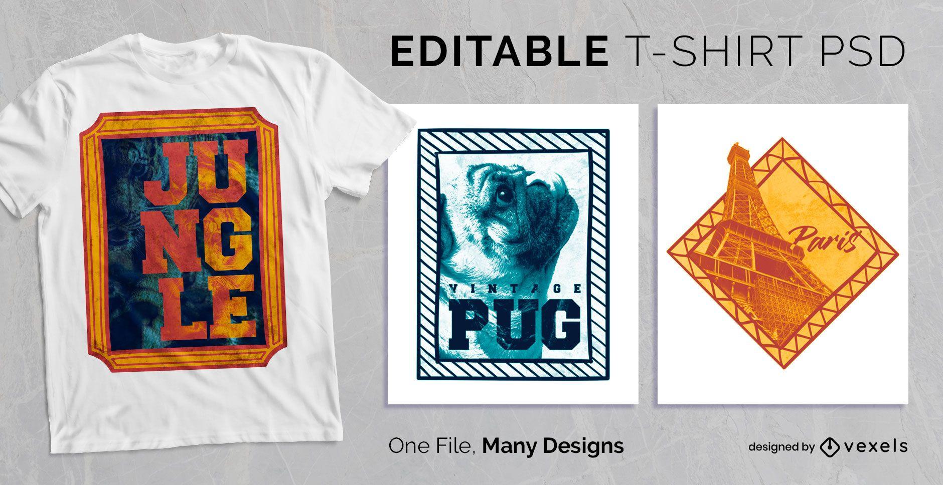 Colorful Frame Text T-shirt Design PSD