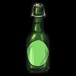 Botella de alcohol dibujada verde