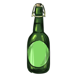Verde de garrafa de álcool desenhada