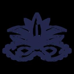 Blue feathers carnival mask stroke