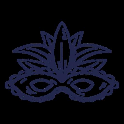Trazo de máscara de carnaval de plumas azules