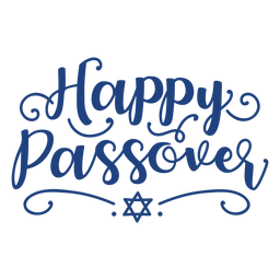 Blue happy passover lettering