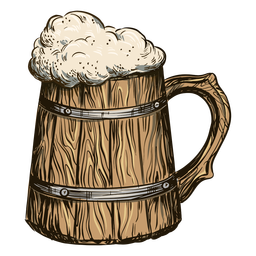 Bubbly beer in barrel mug