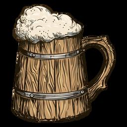 Cerveza burbujeante en barril