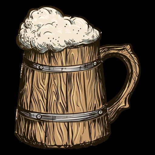 Bubbly beer in barrel mug