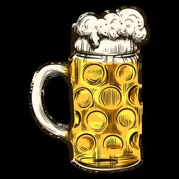 Cerveza burbujeante en taza fría