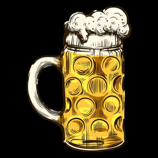Cerveza burbujeante en taza fresca