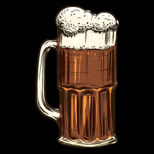 Bubbly beer in tall mug
