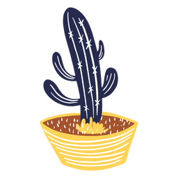 Cactus en una ilustración de olla