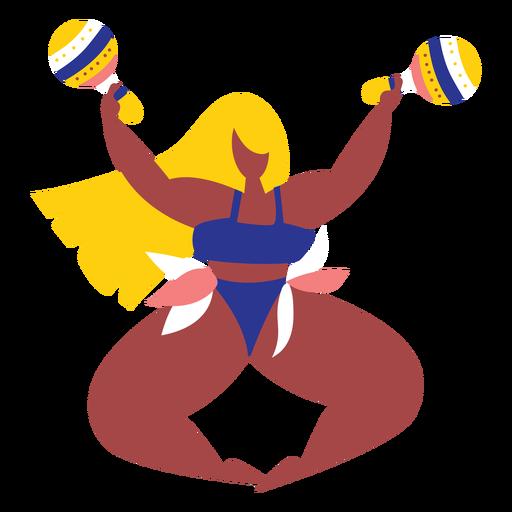 Mujer de carnaval con maracas