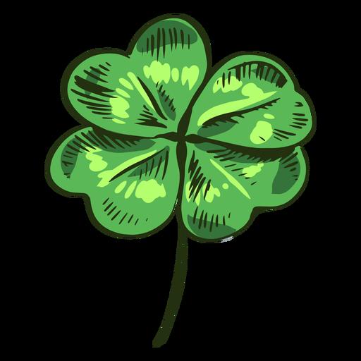 Hoja de trébol dibujado verde Transparent PNG