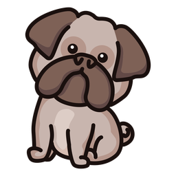 Colored cute bulldog
