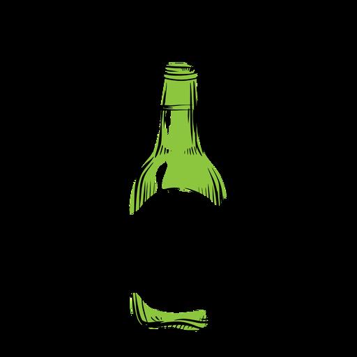 Drawn alcohol bottle