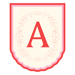 Floral garland banner letter a
