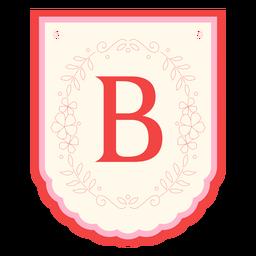 Floral garland banner letter b