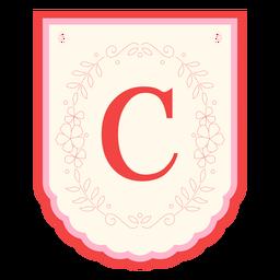 Floral garland banner letter c