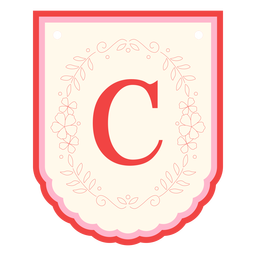 Guirnalda floral banner letra c