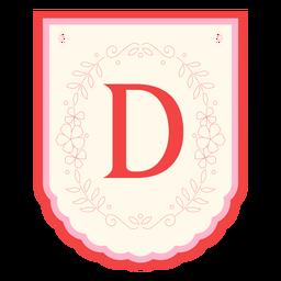 Floral garland banner letter d