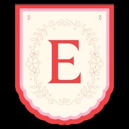 Floral garland banner letter e