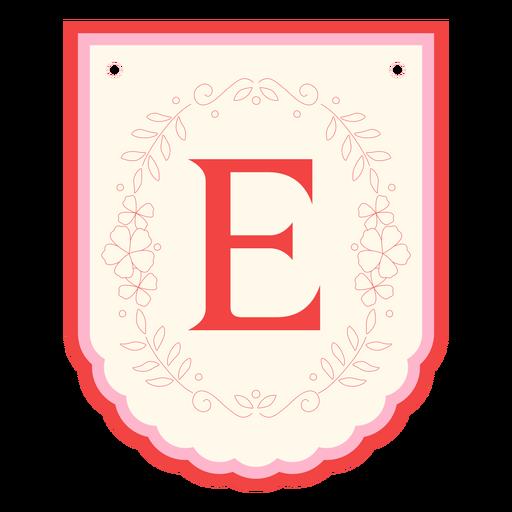 Guirnalda floral banner letra e