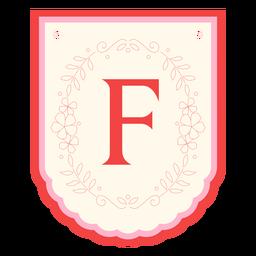Floral garland banner letter f