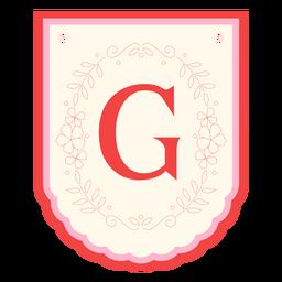 Floral garland banner letter g