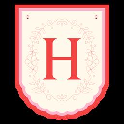 Floral garland banner letter h