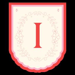 Floral garland banner letter i