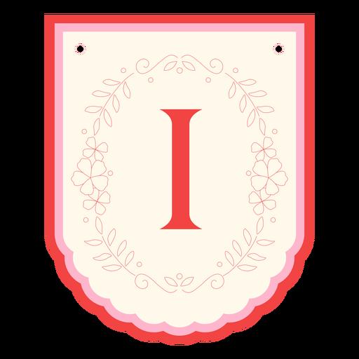 Guirnalda floral banner letra i