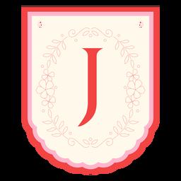 Floral garland banner letter j