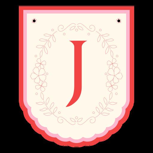 Guirnalda floral banner letra j