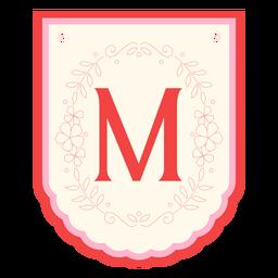 Floral garland banner letter m