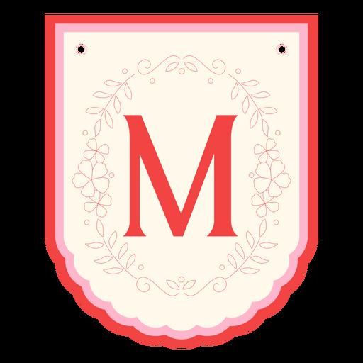 Guirnalda floral banner letra m