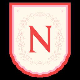 Floral garland banner letter n