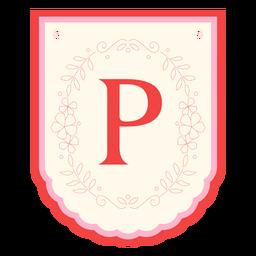 Floral garland banner letter p