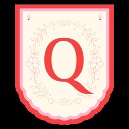 Floral garland banner letter q