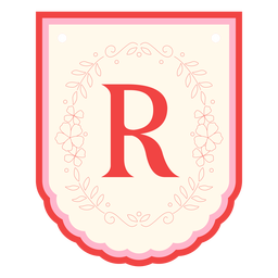Floral garland banner letter r