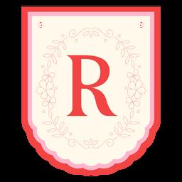 Guirnalda floral banner letra r