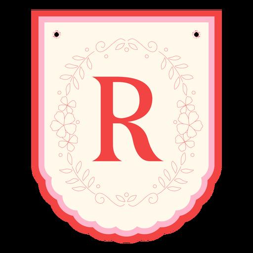 Floral garland banner letter r Transparent PNG