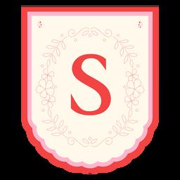 Floral garland banner letter s