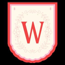 Floral garland banner letter w