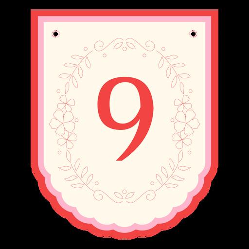 Floral garland banner number 9