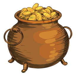 Gold coins pot