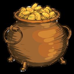 Pote de moedas de ouro