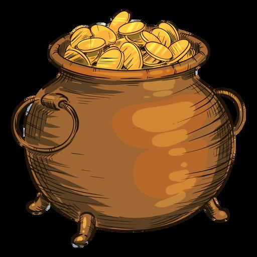 Gold coins pot