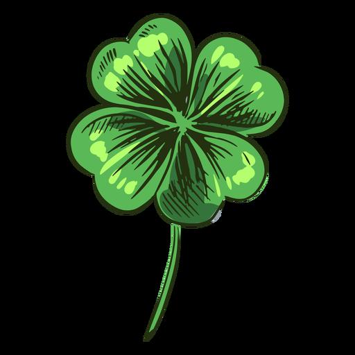 Folha de trevo verde desenhada