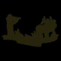 Silhueta de veado caçando arma apontada