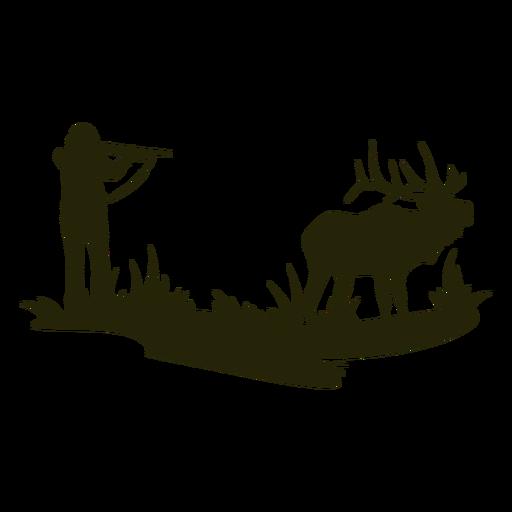 Gun pointed hunting deer silhouette